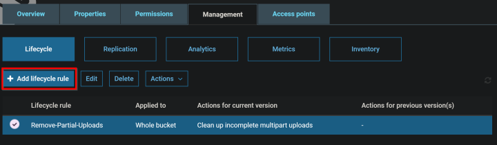 S3 bucket lifecycle rule showing removing multipart uploads after 1 day